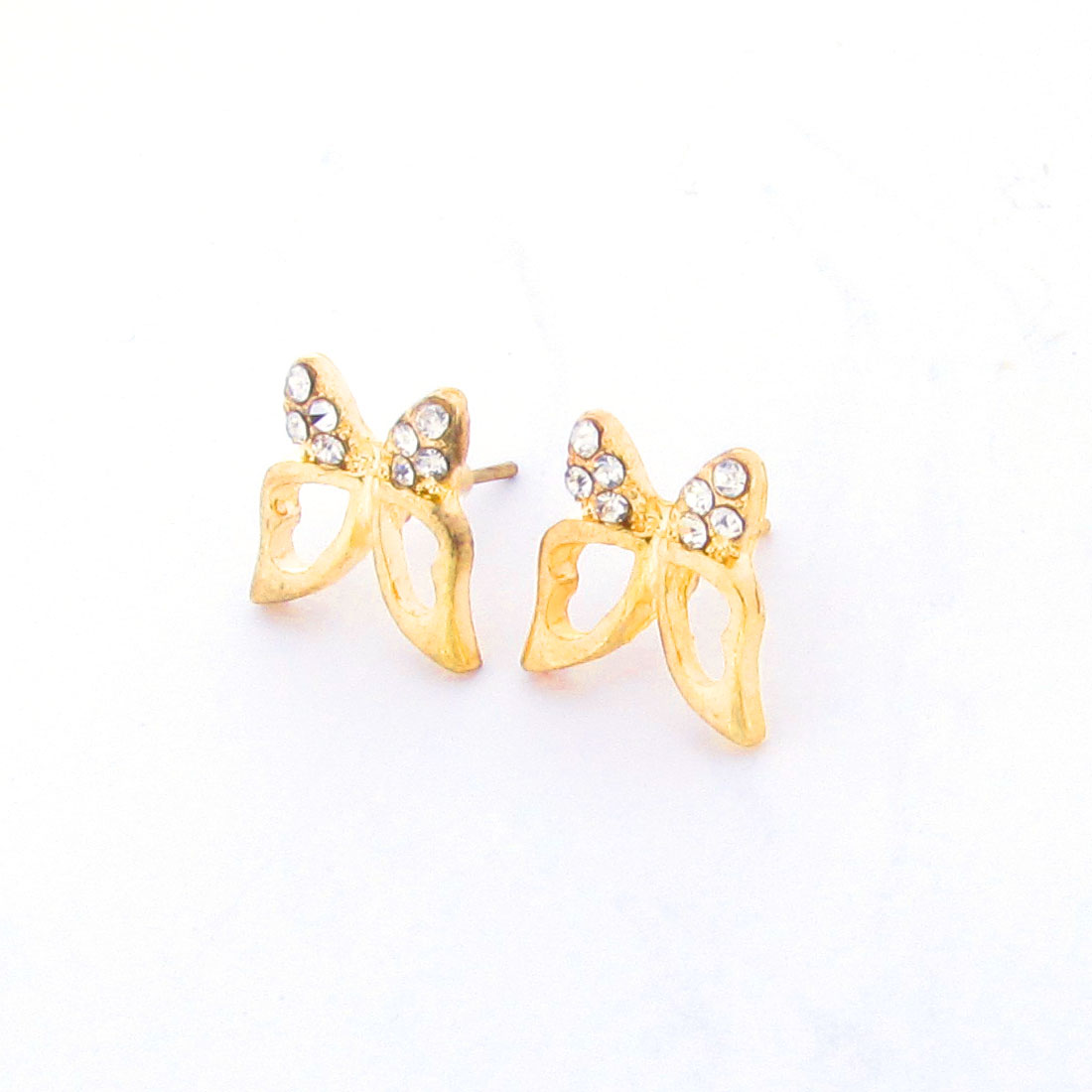 Pair Rhinestones Butterfly Shaped Ornament Stud Earrings Gold Tone for Women