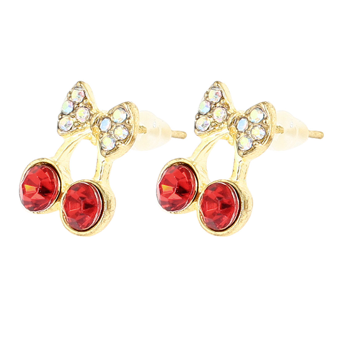 Women Girls Ear Ornament Gold Tone Red Cherry Design Stud Earrings Pair