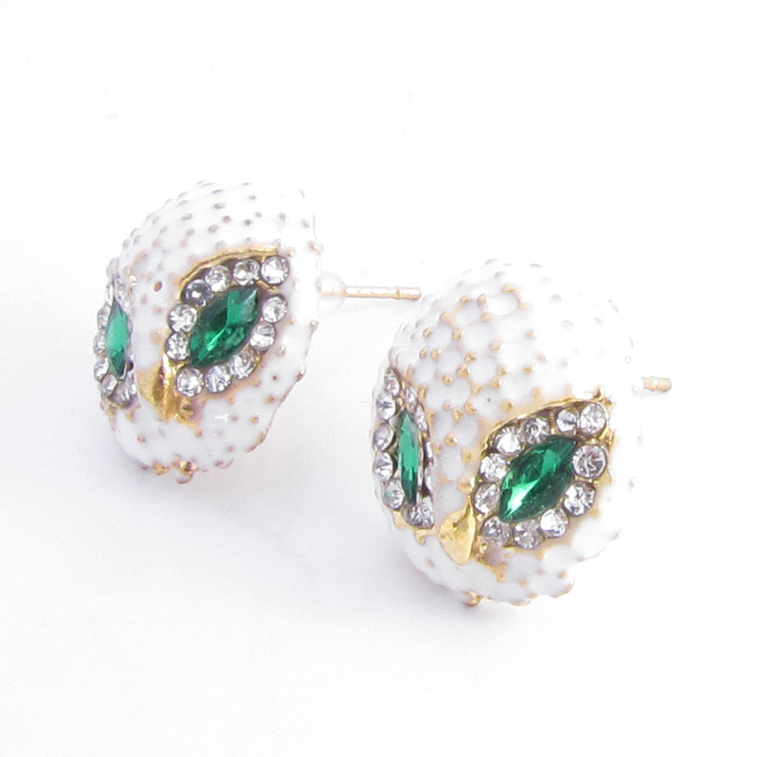 Lady Ear Decor White Green Owl Shaped Rhinestones Detailing Stud Earrings Pair