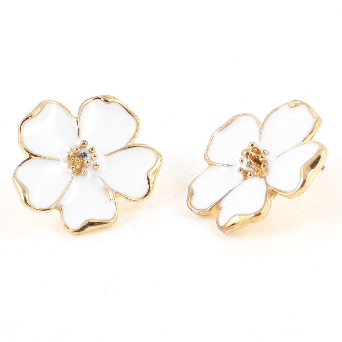 Ladies White Gold Tone Flower Pierced Ear Stud Earrings Eardrops Pair