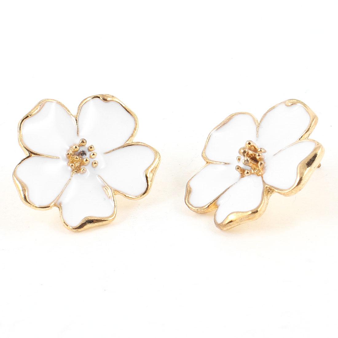 Ladies White Gold Tone Flower Pierced Ear Stud Earrings Eardrops Pair