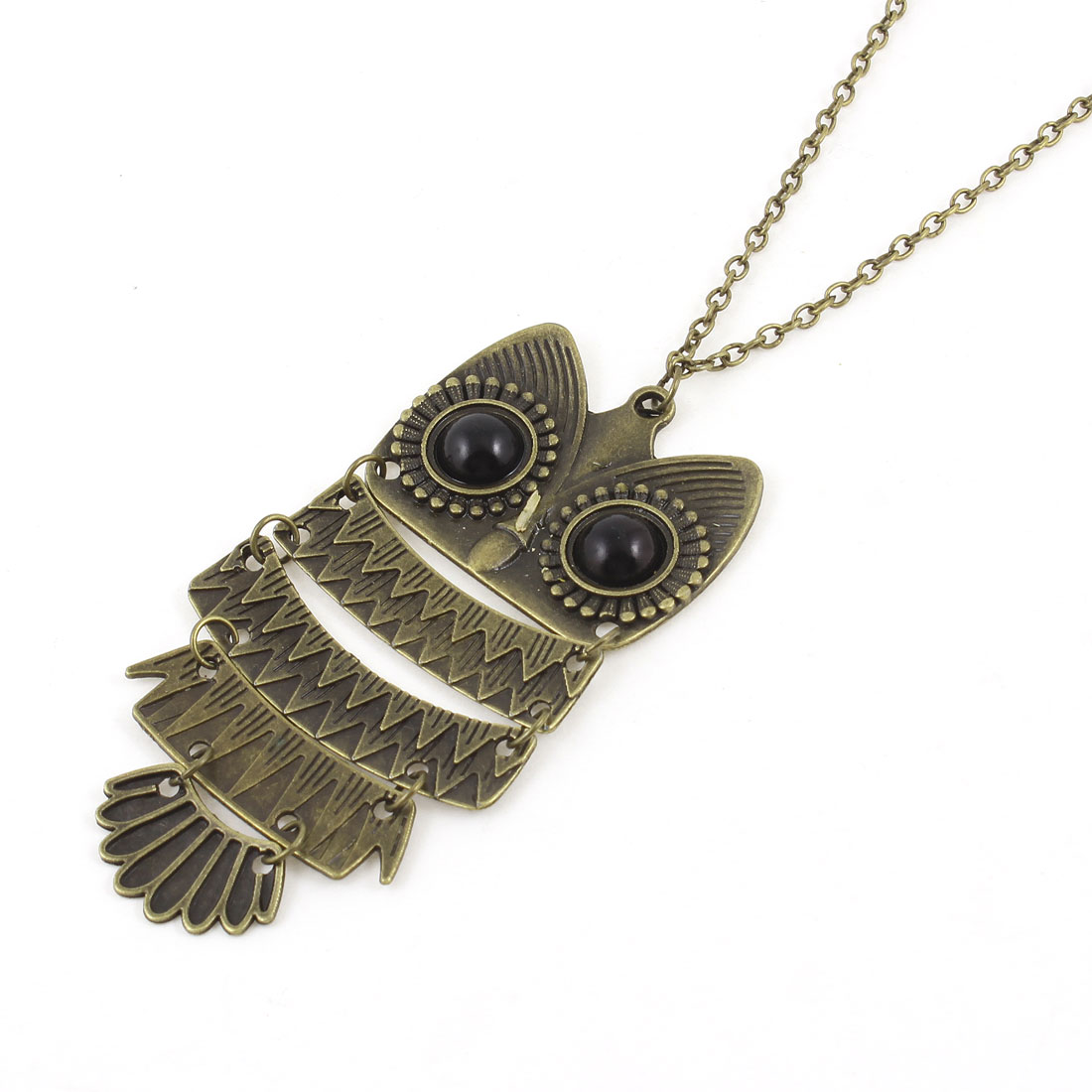 Big Black Eyes Owl Shape Detailing Sweater Necklace Bronze Tone