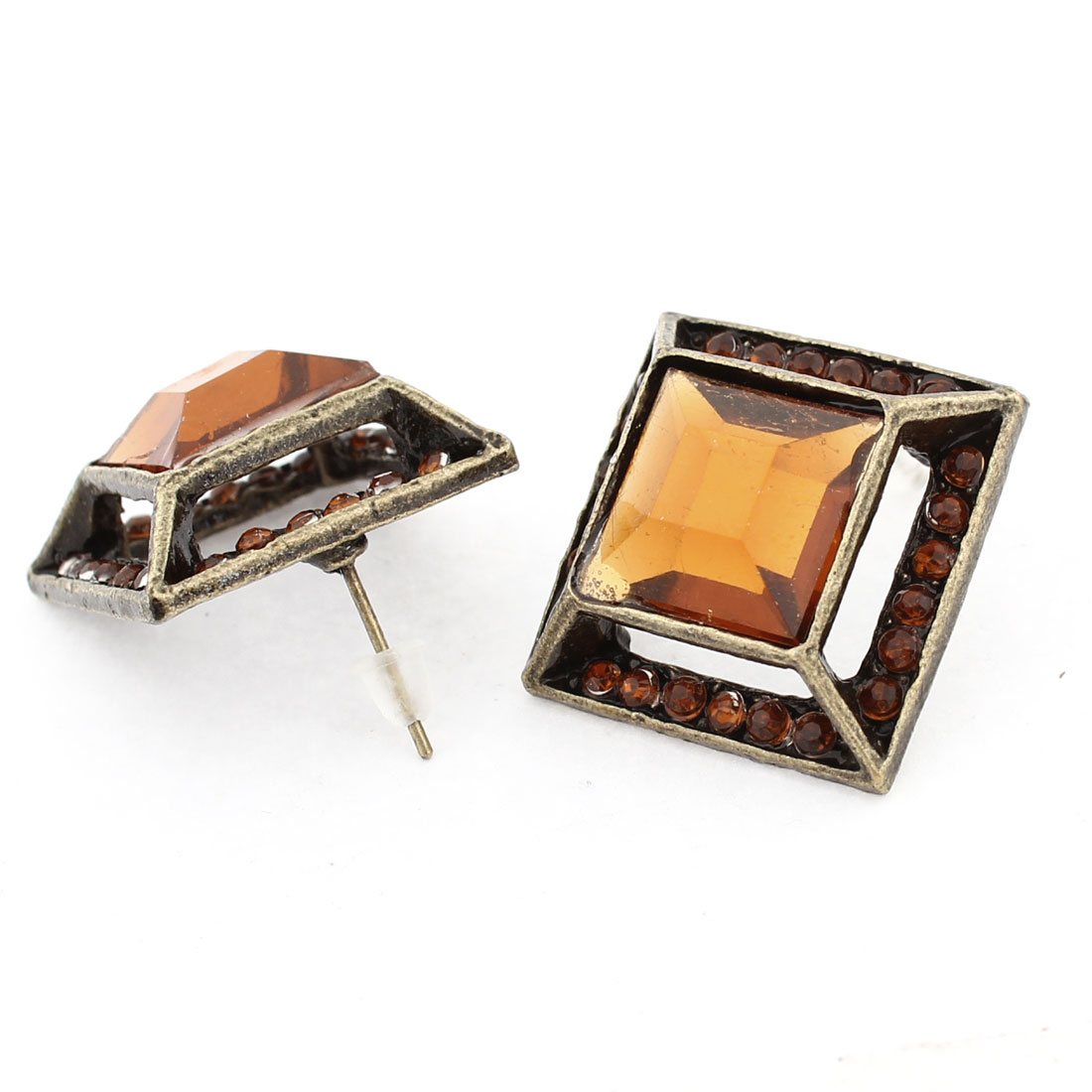 Women Girls Ear Ornament Brown Square Crystal Stud Earrings Bronze Tone Pair