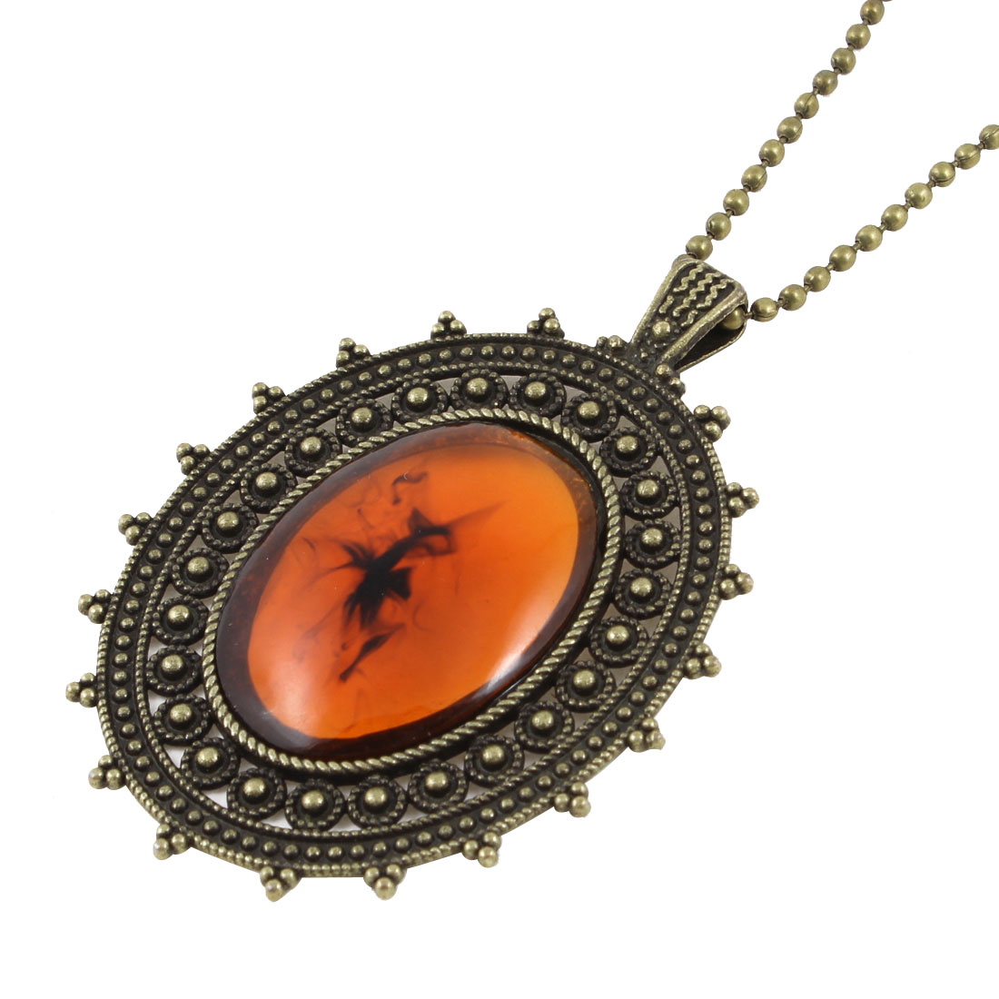 Bronze Tone Oval Faux Amber Decoration Pendant Metal Chain Sweater Necklace