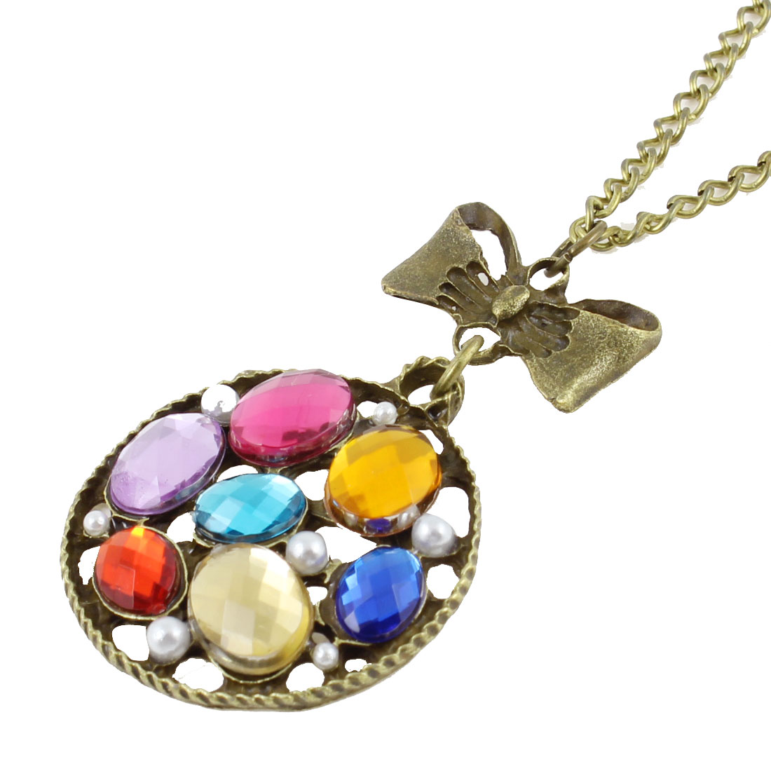 Bronze Tone Multicolor Faux Faceted Bead Decor Round Pendant Sweater Necklace for Woman