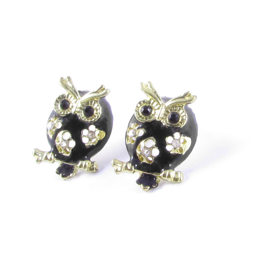 Pair Rhinestones Inlaid Black Owl Shaped Decor Stud Earrings Gold Tone for Lady