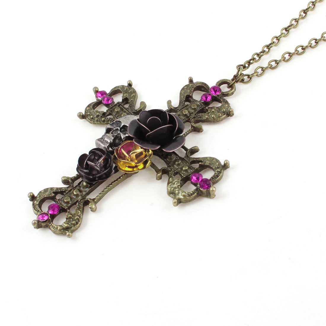 Lady Skull Detailing Cross Pendant Lobster Closure Bronze Tone Sweater Necklace