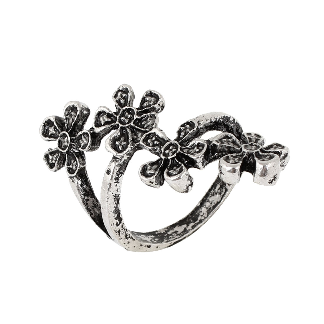 Ladies Silver Tone Flower Shape Decoration Alloy Finger Ring US Size 5 1/4