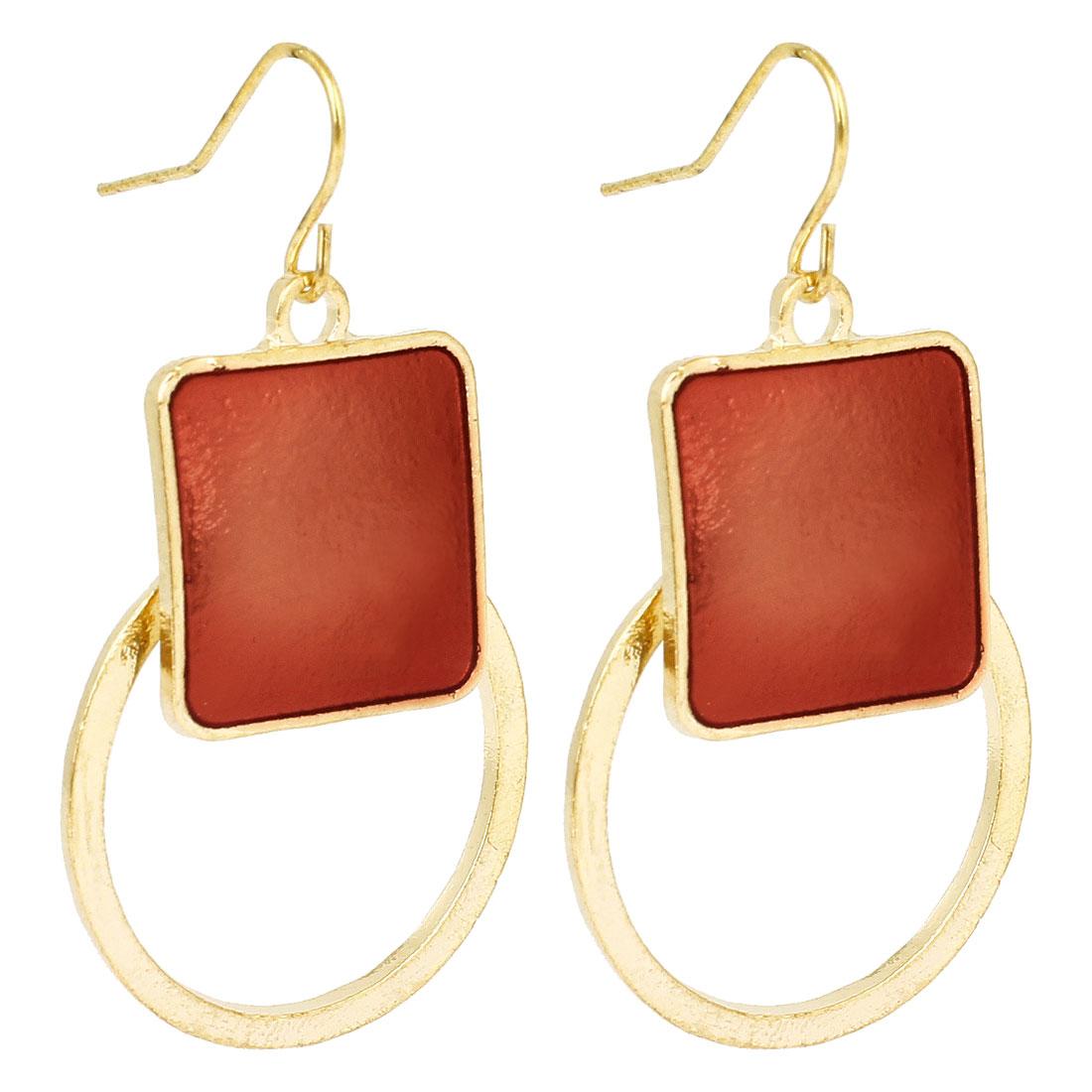 Women Red Square Ornament Circle Pendant Fish Hook Earrings Gold Tone Pair