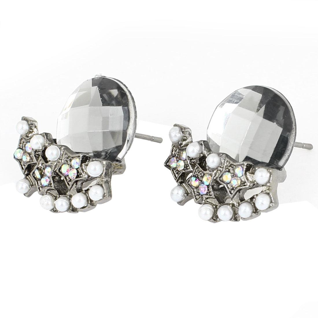 Women Girls Ear Ornament Faux Pearl Crystal Decor Gray Stud Earrings Pair