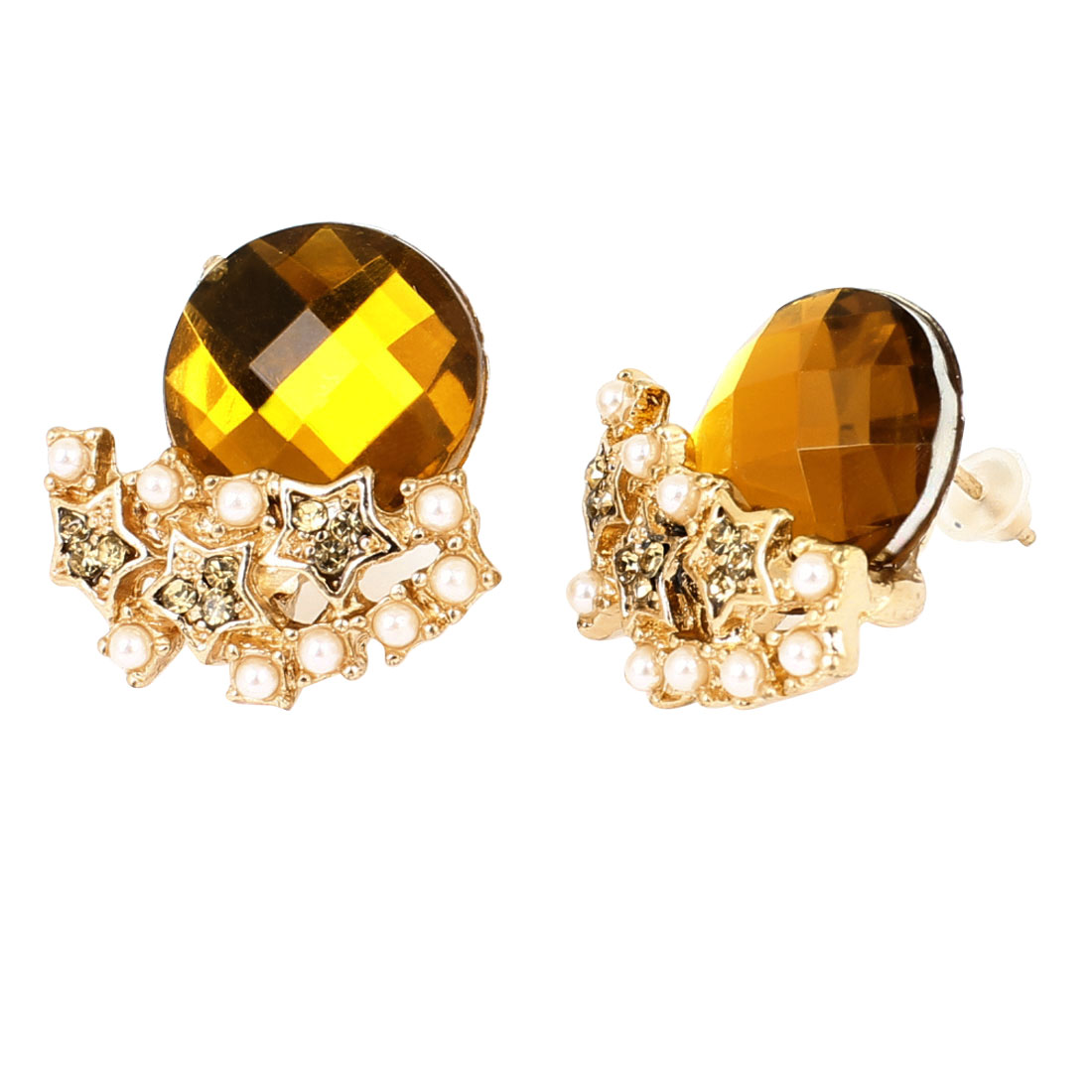 Pair Gold Tone Brown Faceted Crystal Ornament Stud Earrings Decor for Women