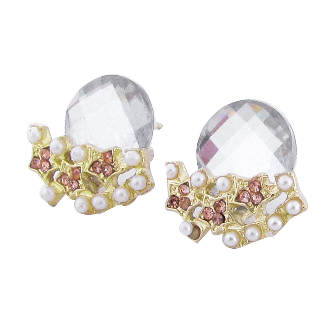 Lady Ear Ornament Gold Tone Clear Faceted Crystal Detailing Stud Earrings Pair
