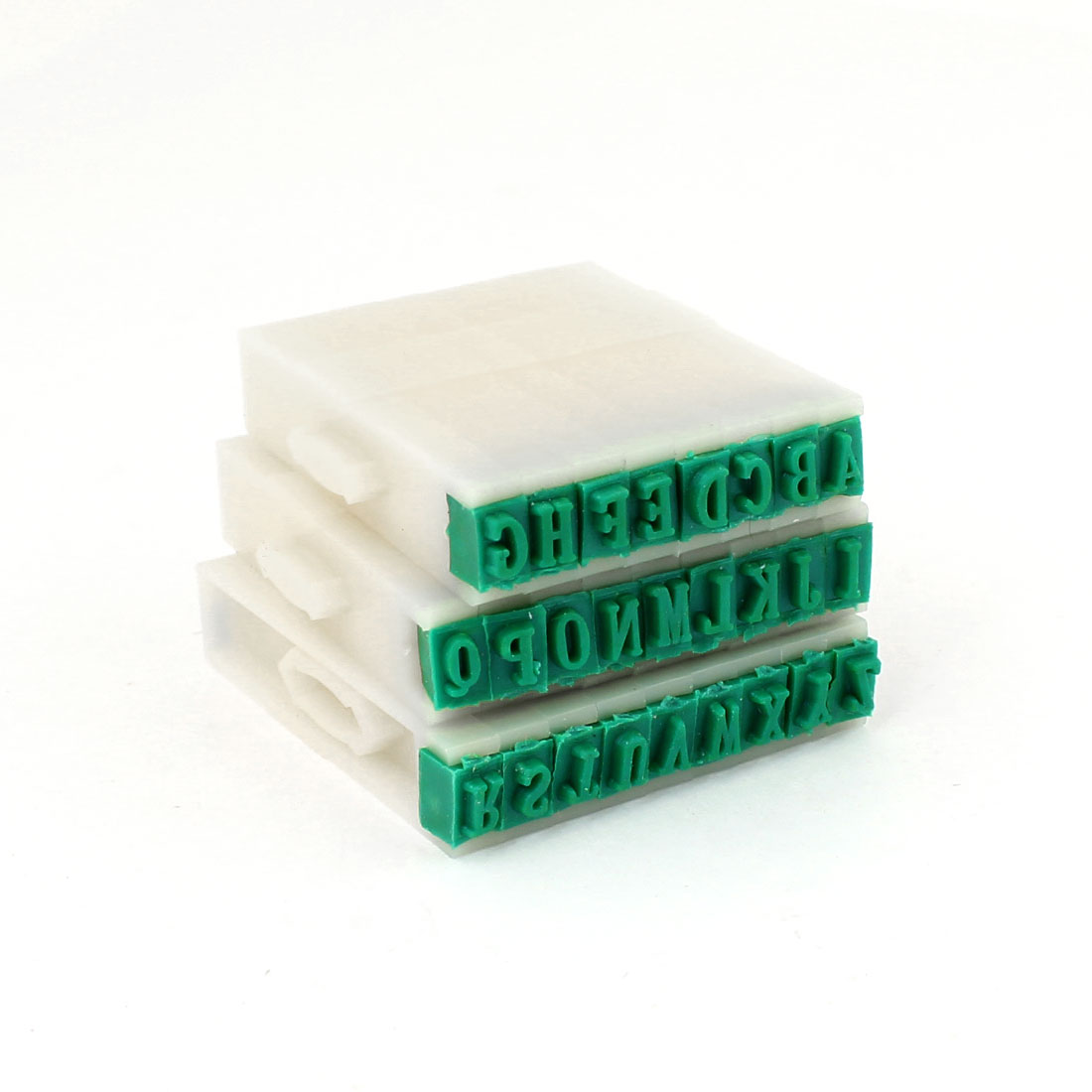 Green Off White Hard Plastic Rubber 26pcs Alphabet Stamp 8mm Wide