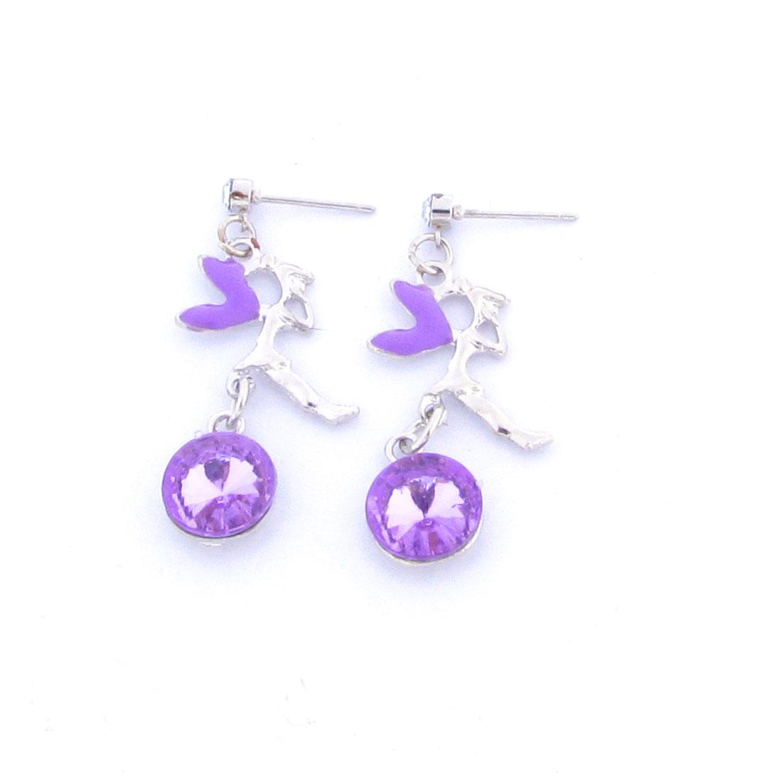 Lady Silver Tone Plastic Angel Shaped Purple Crystal Detail Stud Earrings Pair