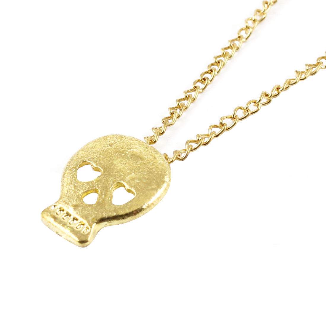 Ladies Lobster Closure Skull Shape Detailing Necklace Gold Tone