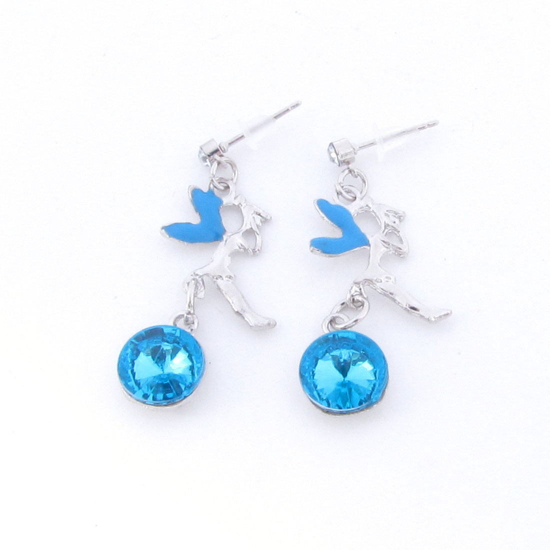 Girls Ear Ornament Silver Tone Blue Angel Shape Pendant Stud Earrings Pair