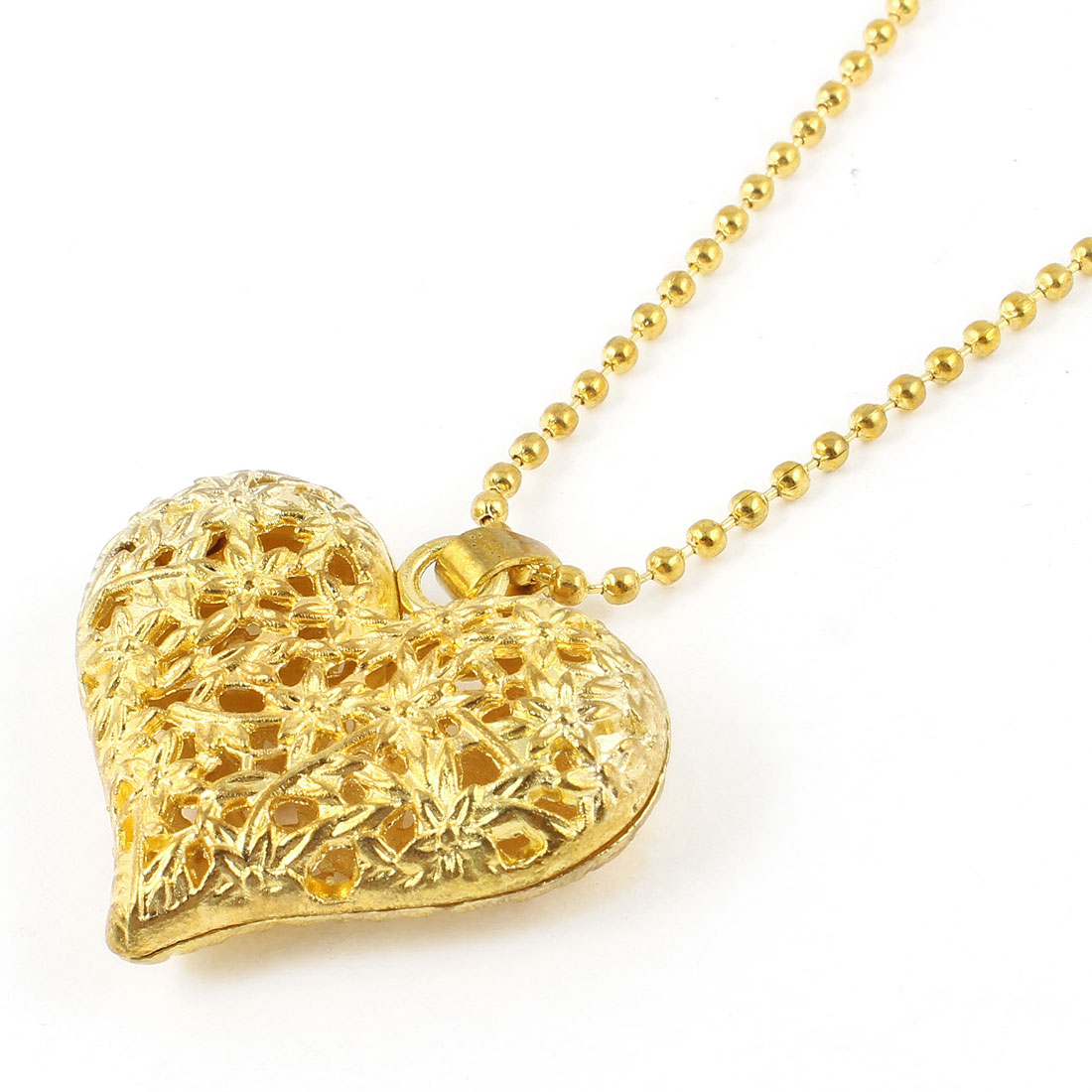 Lady Flower Printed Hollow Out Heart Shape Pendant Gold Tone Sweater Necklace
