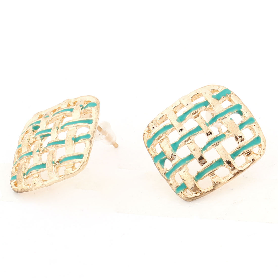 Pair Gold Tone Hollow Out Square Shaped Ornament Stud Earrings Decor for Lady