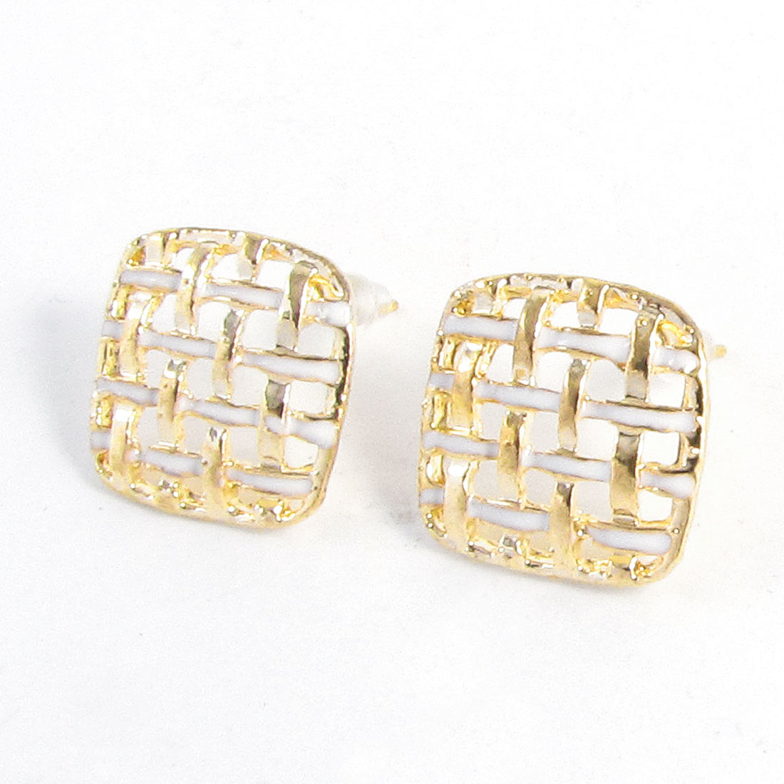 Ladies Ear Ornament Gold Tone White Hollow Out Design Square Stud Earrings Pair