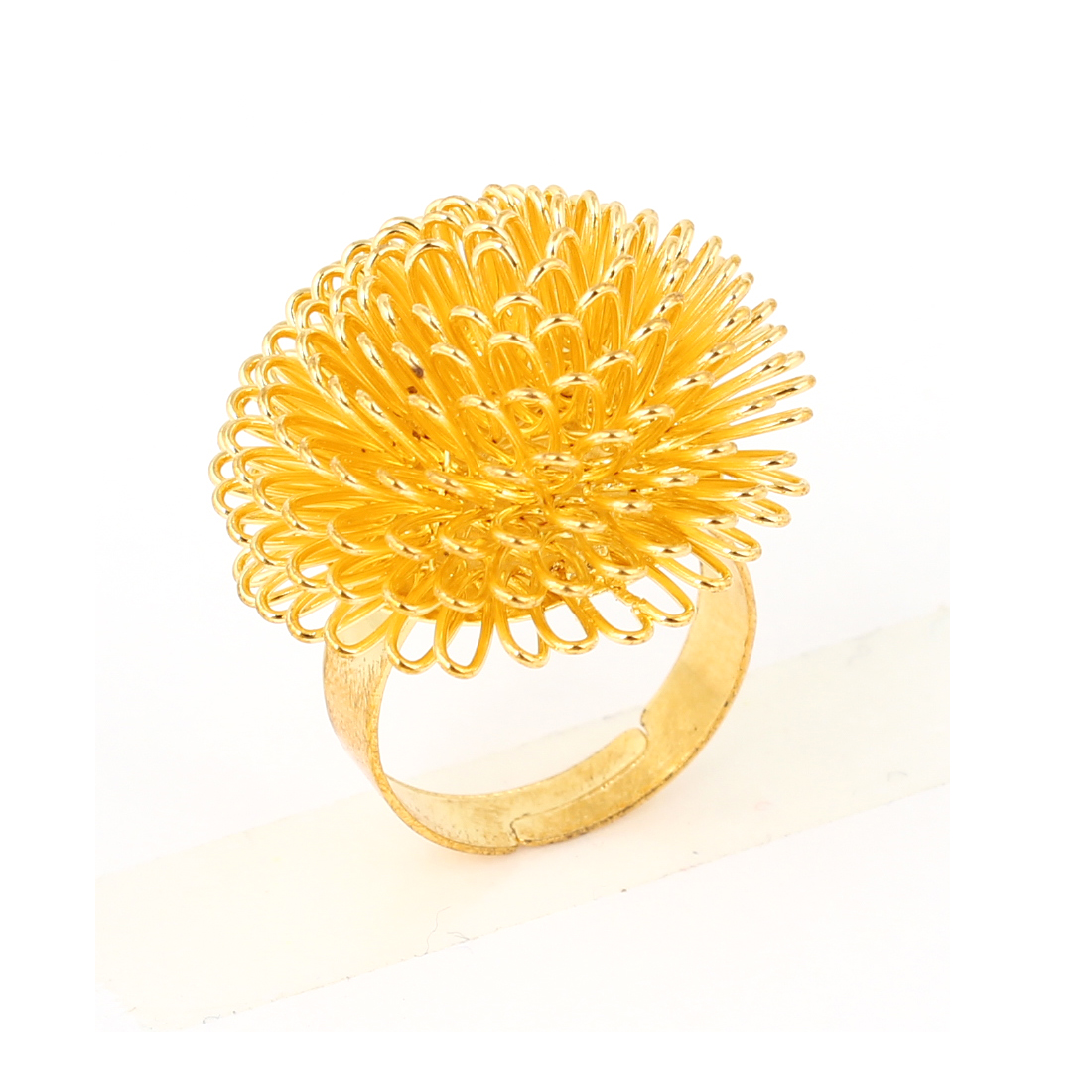 Decorative Gold Tone Dandelion Flower Metal Finger Ring US Size 7 1/2 for Lady
