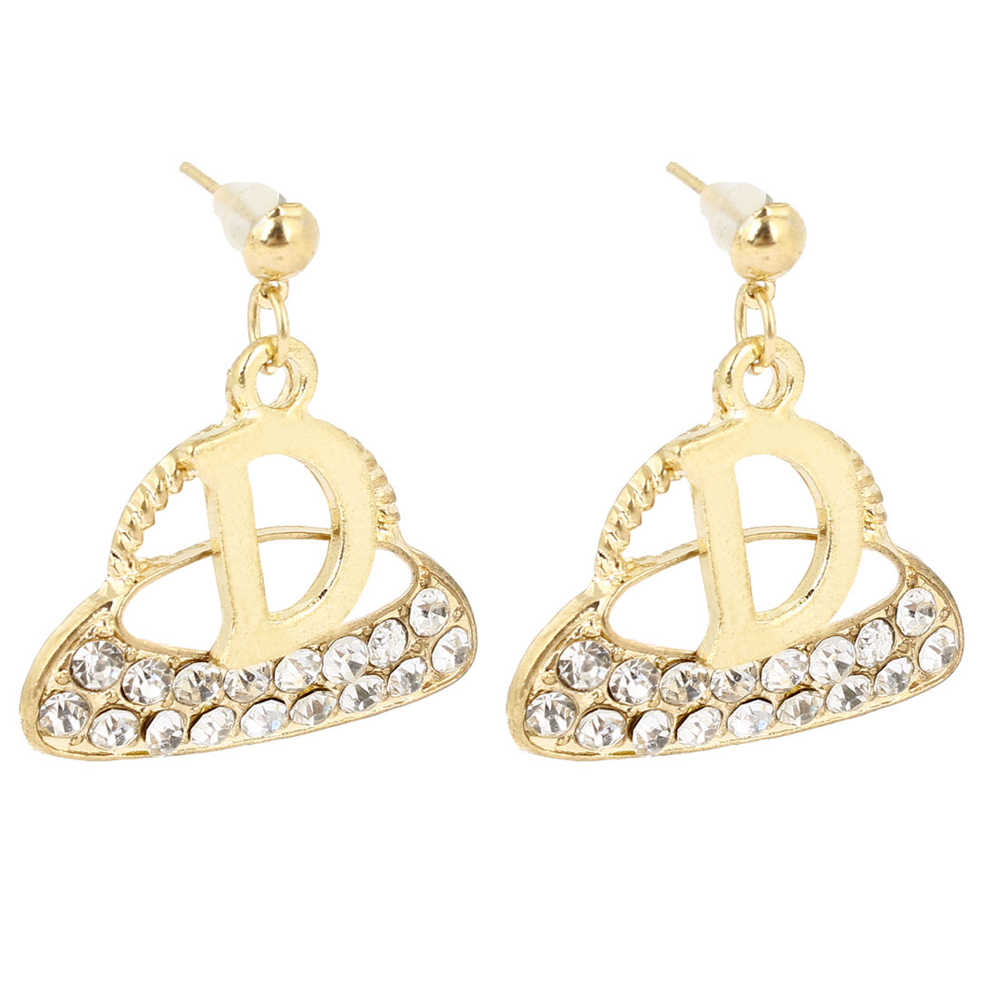 Girls Ear Ornament Gold Tone Bag Design Rhinestones Inlaid Stud Earrings Pair