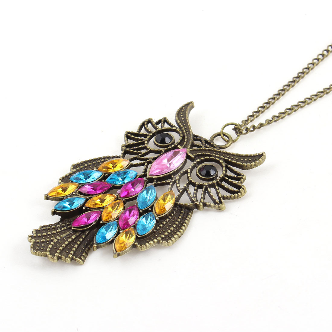 Bronze Tone Lobster Clasp Colorful Beads Owl Ornament Pendant Necklace for Women