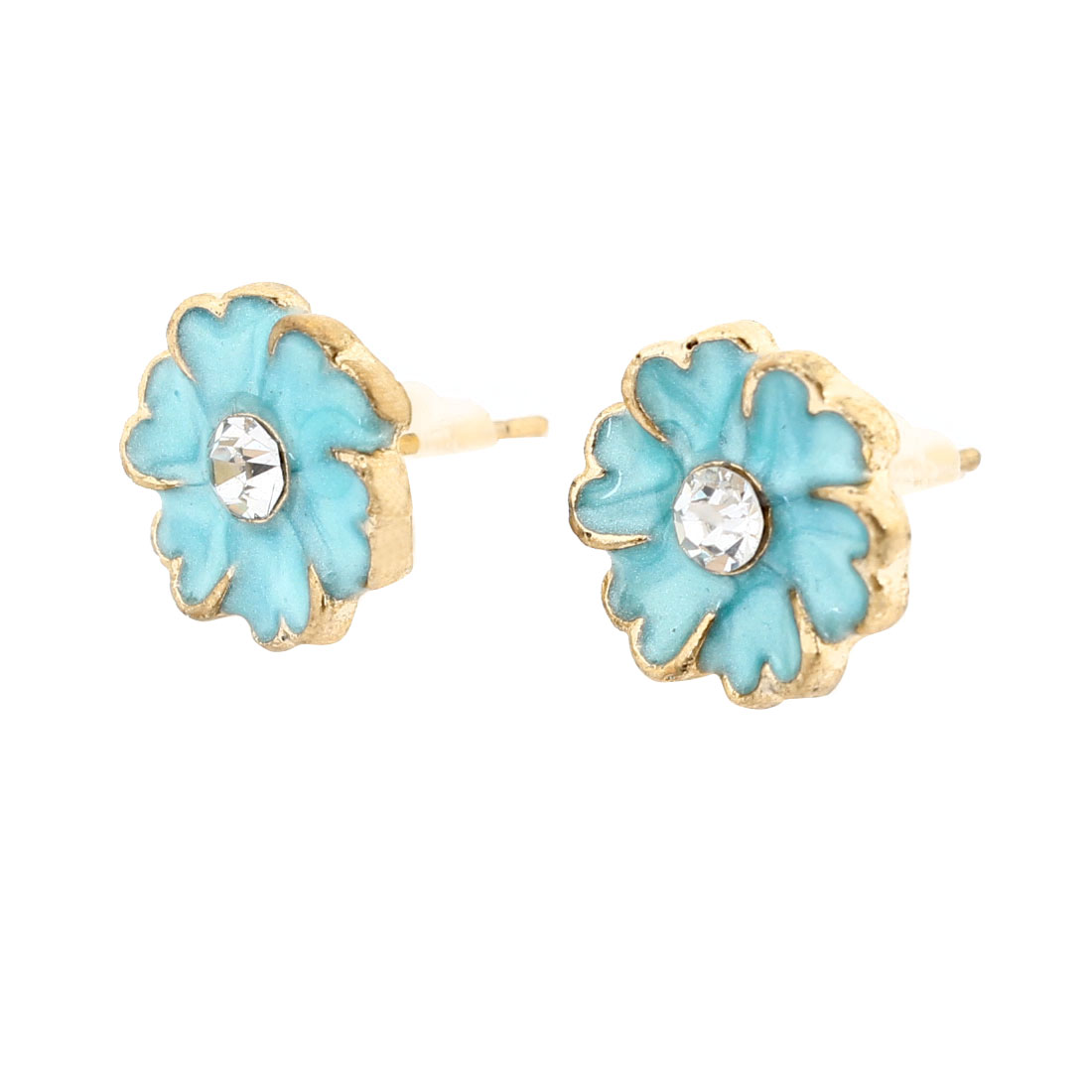 Pair Rhinestones Inlaid Flower Shaped Ornament Stud Earrings Pale Blue for Lady