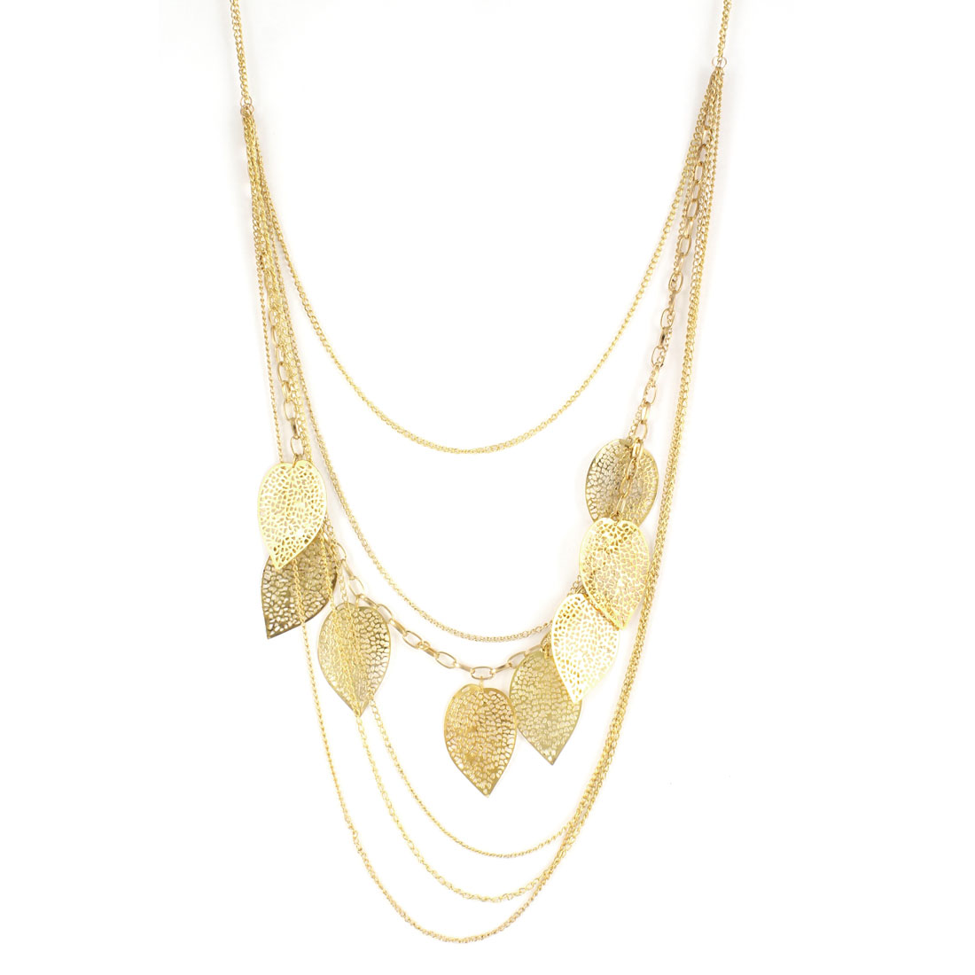 Lady Leaves Embellished 6 Layer Chain Lobster Closure Gold Tone Sweater Necklace