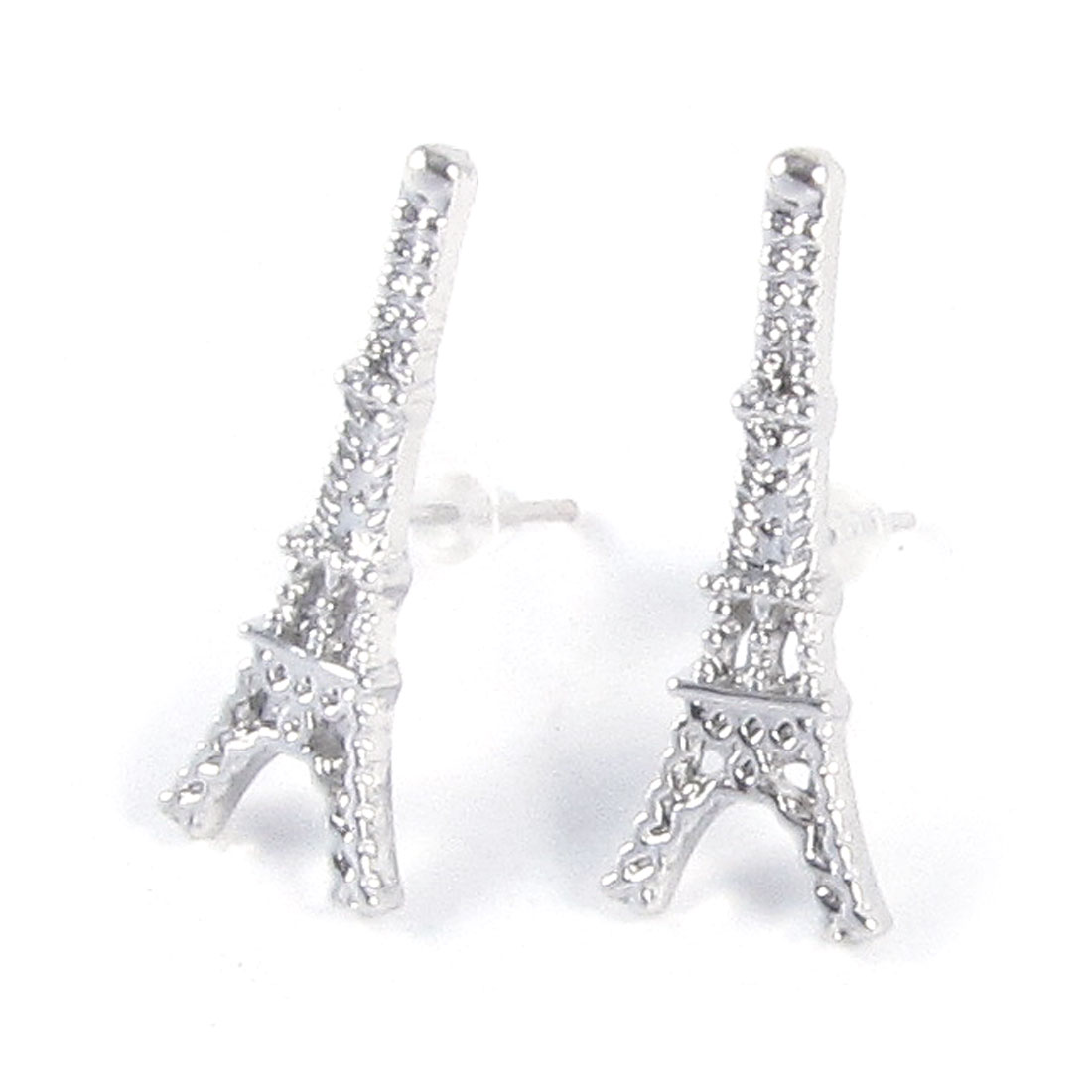 Lady Ear Decor Silver Tone Tower Shape Detailing Stud Earrings Pair
