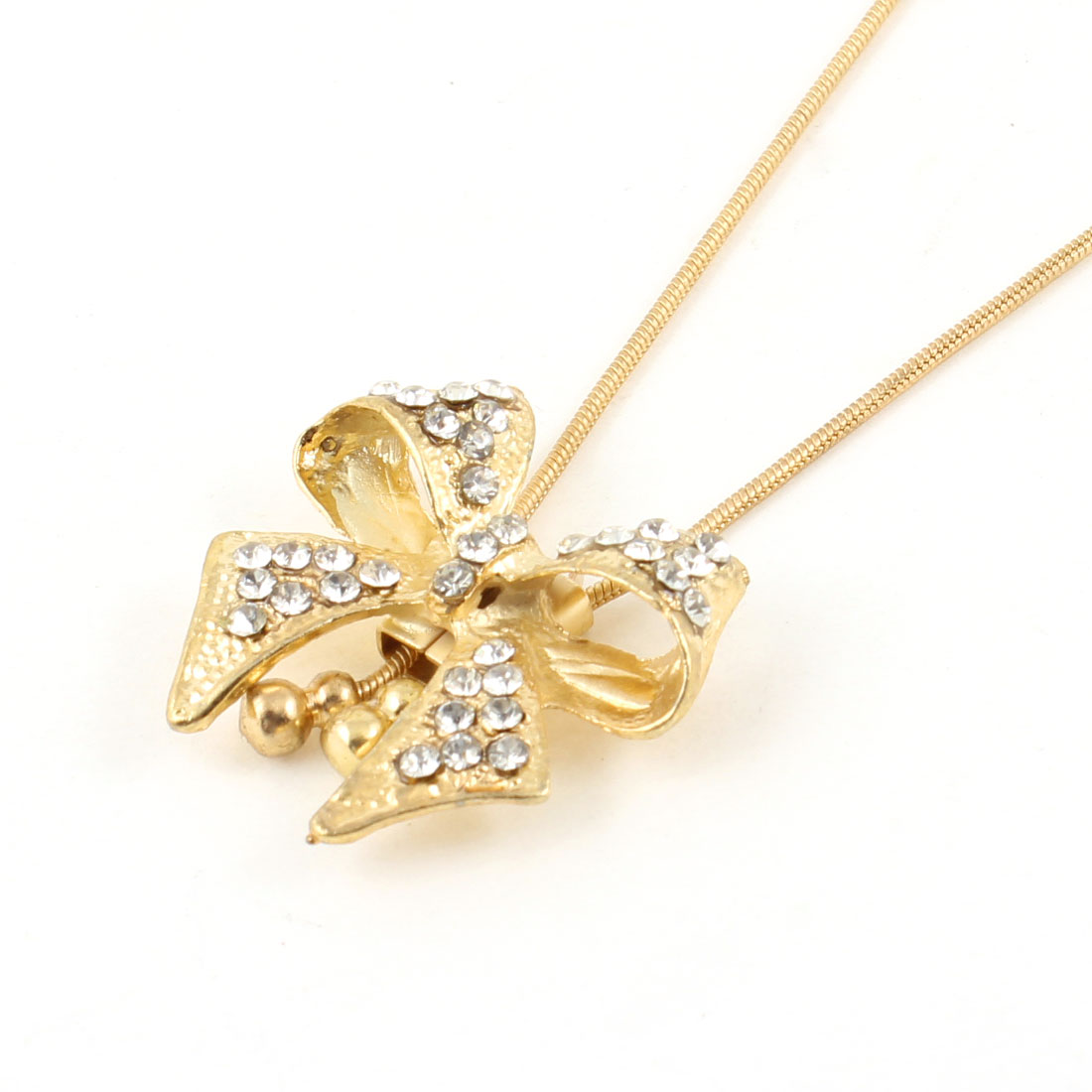 Gold Tone Rhinestones Bowknot Pendant Long Chain Sweater Necklace