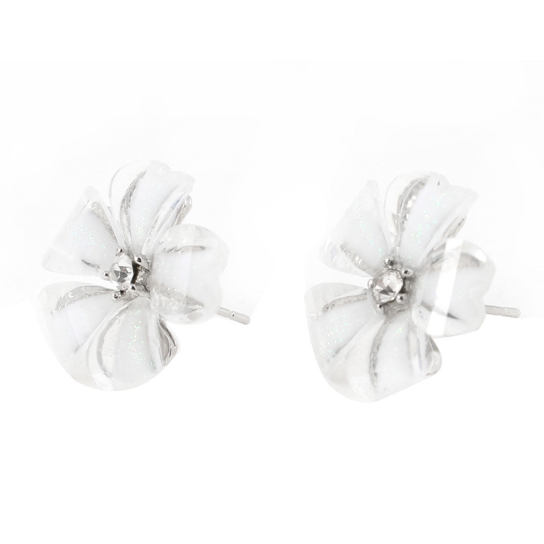 Ladies Rhinestone Flower Shaped Pierced Stud Earrings Pair Silver Tone White
