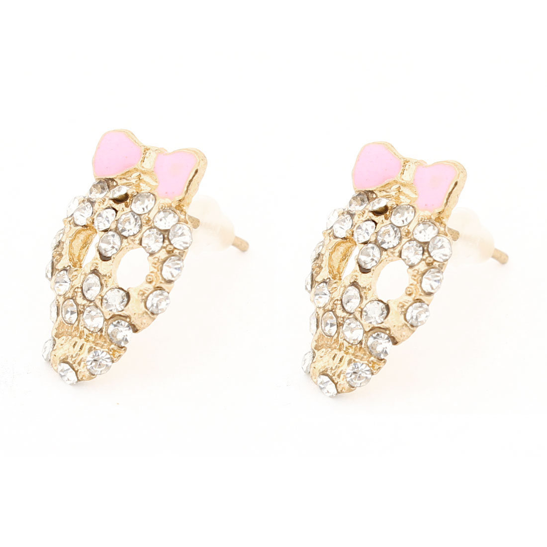 Lady Ear Decor Gold Tone Skull Shape Rhinestone Detailing Stud Earrings Pair
