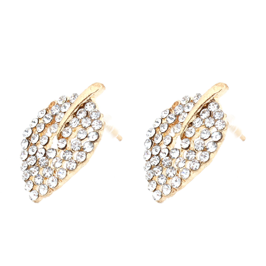 Women Girls Ear Ornament Rhinestones Hollow Out Leaf Design Stud Earrings Pair