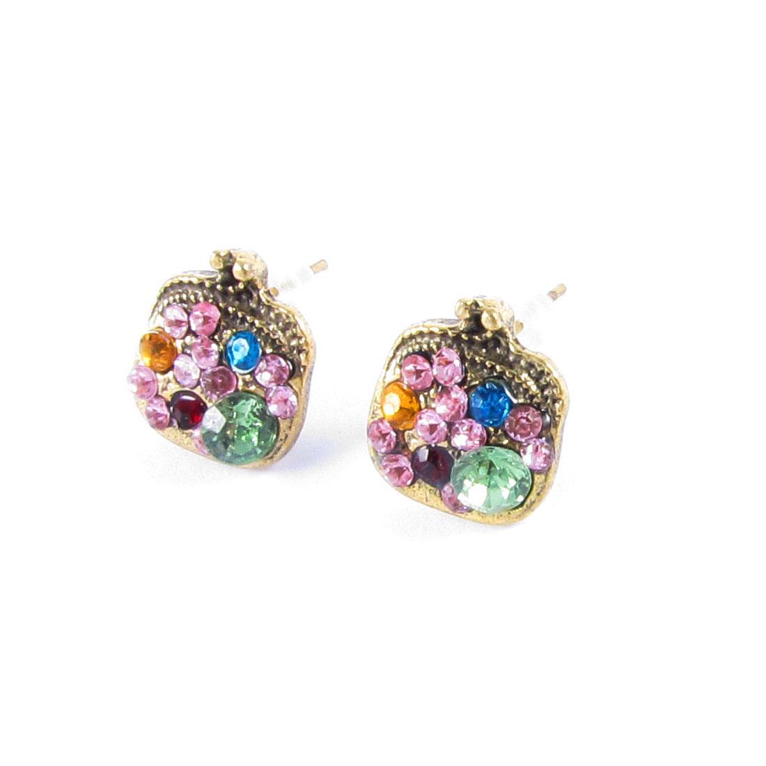 Girls Ear Ornament Rhinestones Bronze Tone Mini Bag Design Stud Earrings Pair