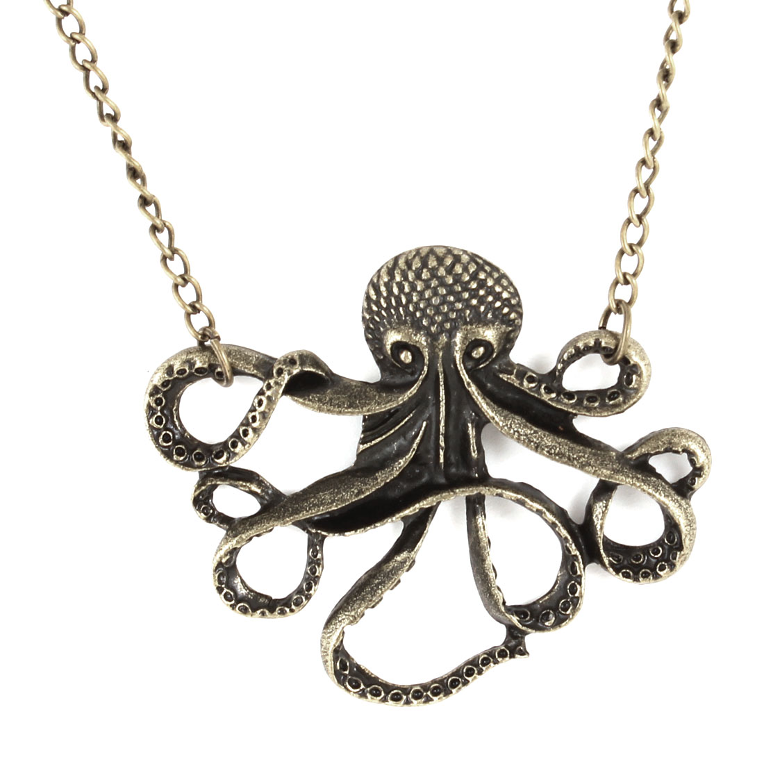 70cm Long Chain Octopus Ornament Pendants Necklace Bronze Tone
