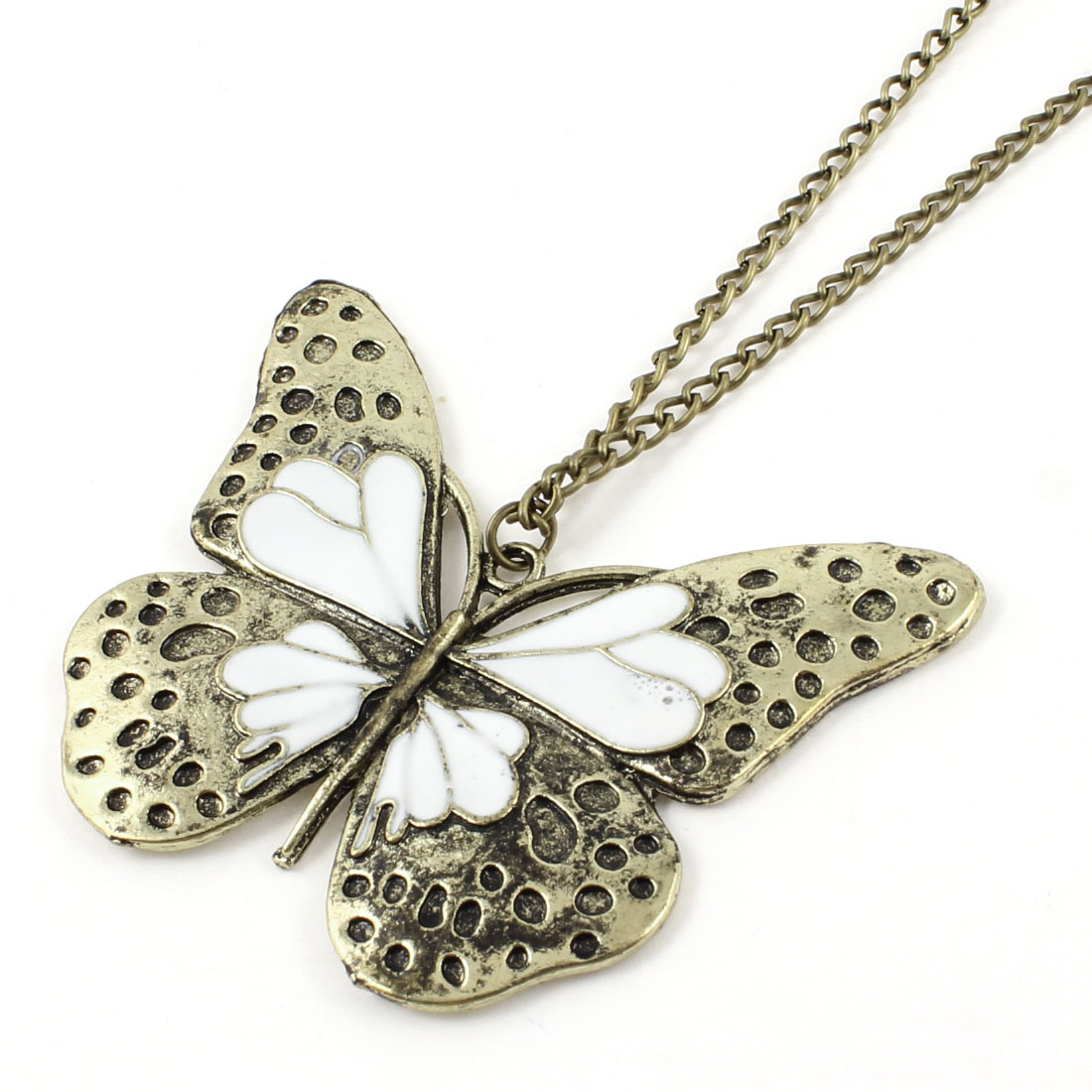 Ladies Lobster Closure Bronze Tone Butterfly Pendant Long Chain Necklace