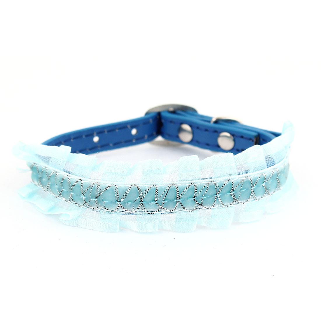 Pale Green Lace Decor Blue Faux Leather Adjustable Cat Pet Dog Collar Ornament
