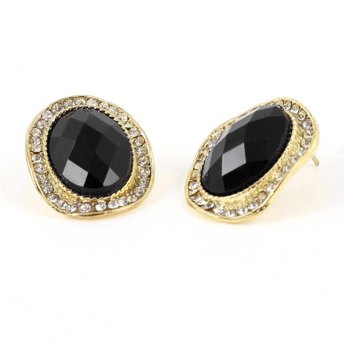 Pair Rhinestones Faceted Bead Decor Stud Earrings Gold Tone Black for Ladies