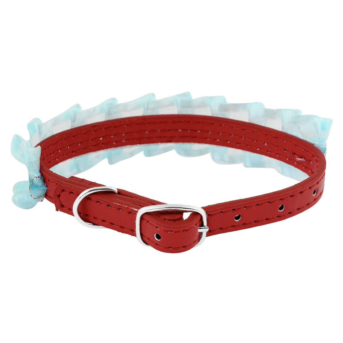 Red Faux Leather Pale Green Lace Decor Adjustable Dog Doggy Puppy Collar Rope