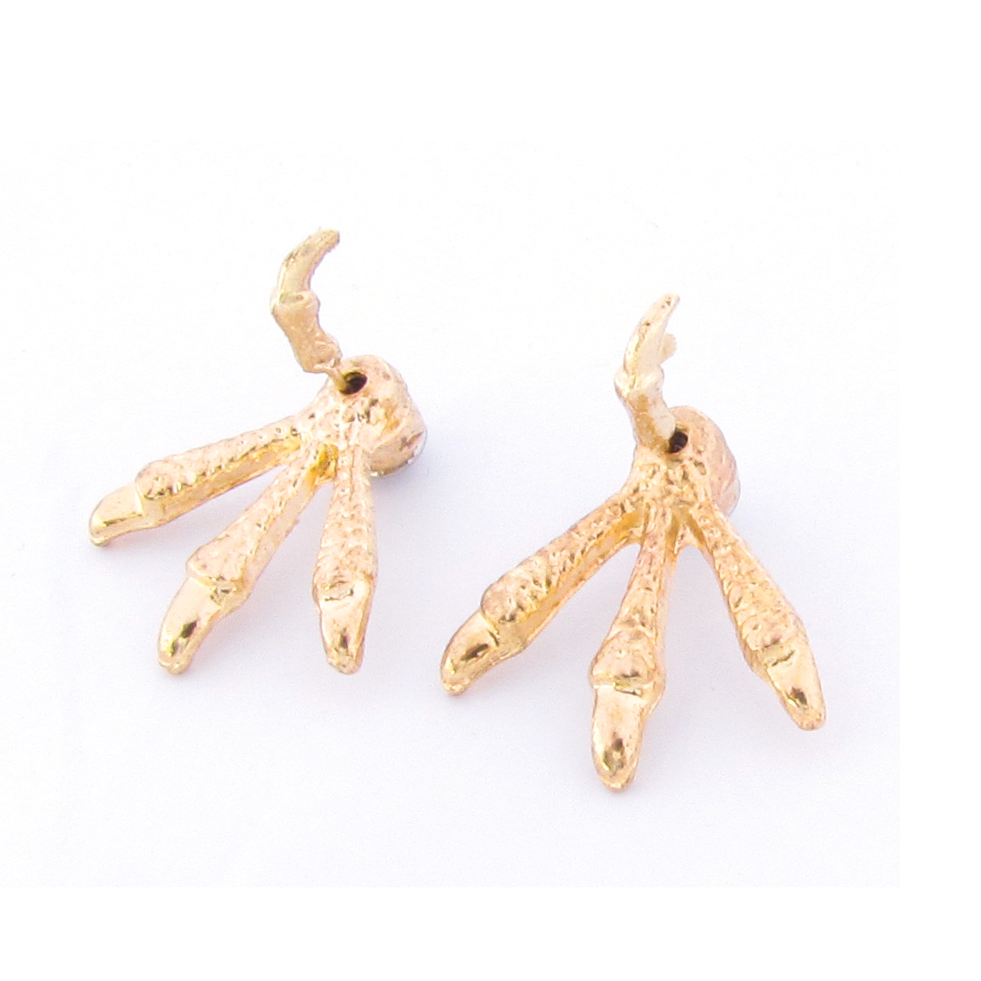 Pair Chicken Claw Shaped Ornament Stud Earrings Decor Gold Tone for Women