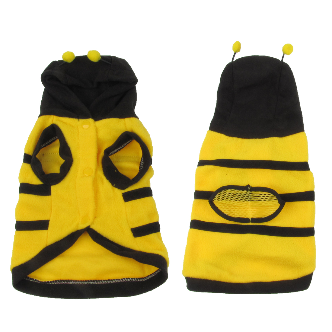Single Breasted Bee Design Hooded Pet Dog Coat Sweater Yellow Black Size L