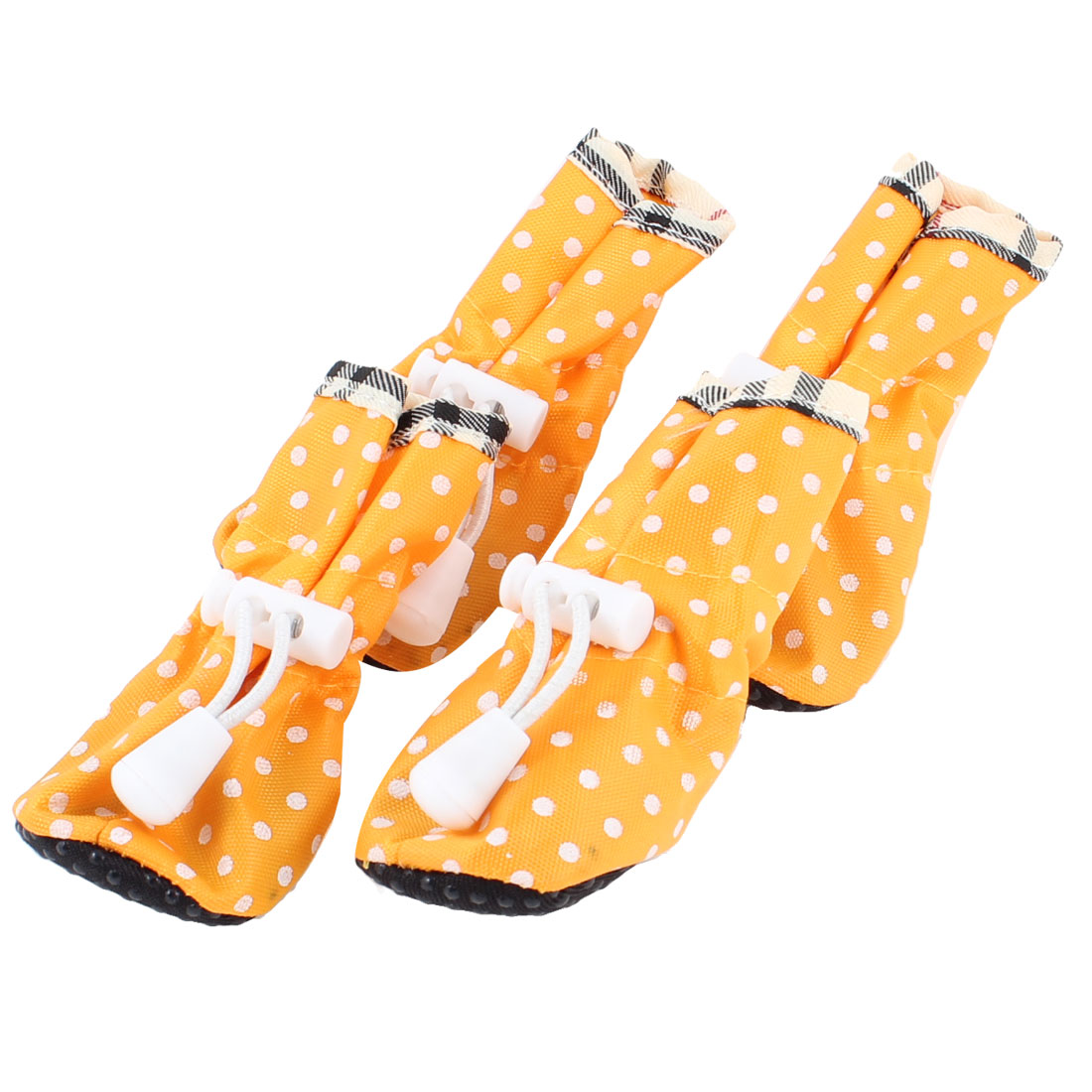 2 Pair Polka Dot Pattern Cat Doggie Drawstring Boots Shoes Orange XXS Size 1