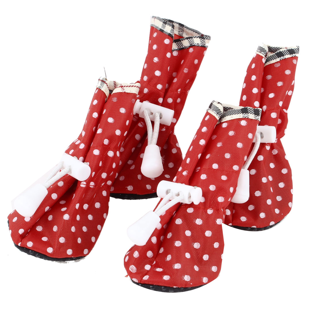 2 Pair Polka Dot Pattern Cat Doggie Drawstring Boots Shoes Red XS Size 2