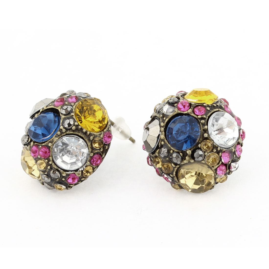 Pair Colorful Rhinestones Inlaid Round Shaped Ornament Stud Earrings for Women