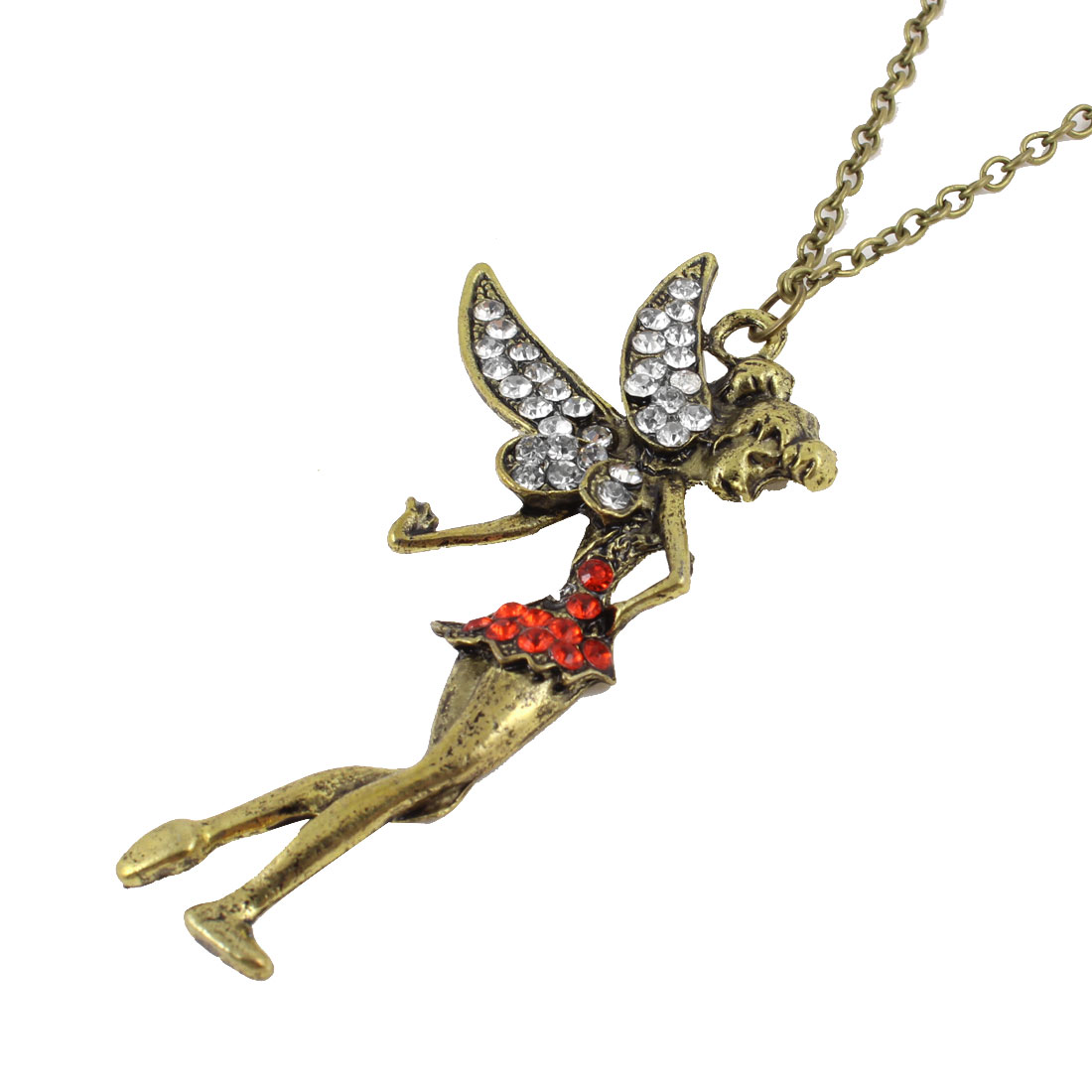 Bronze Tone Rhinestone Decor Angel Shape Pendant Sweater Necklace for Woman
