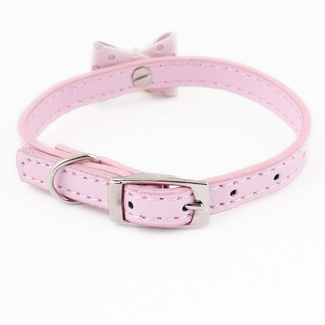 Pin Buckle Bowknot Bell Detail Faux Leather Pet Dog Doggie Collar Belt Pale Pink