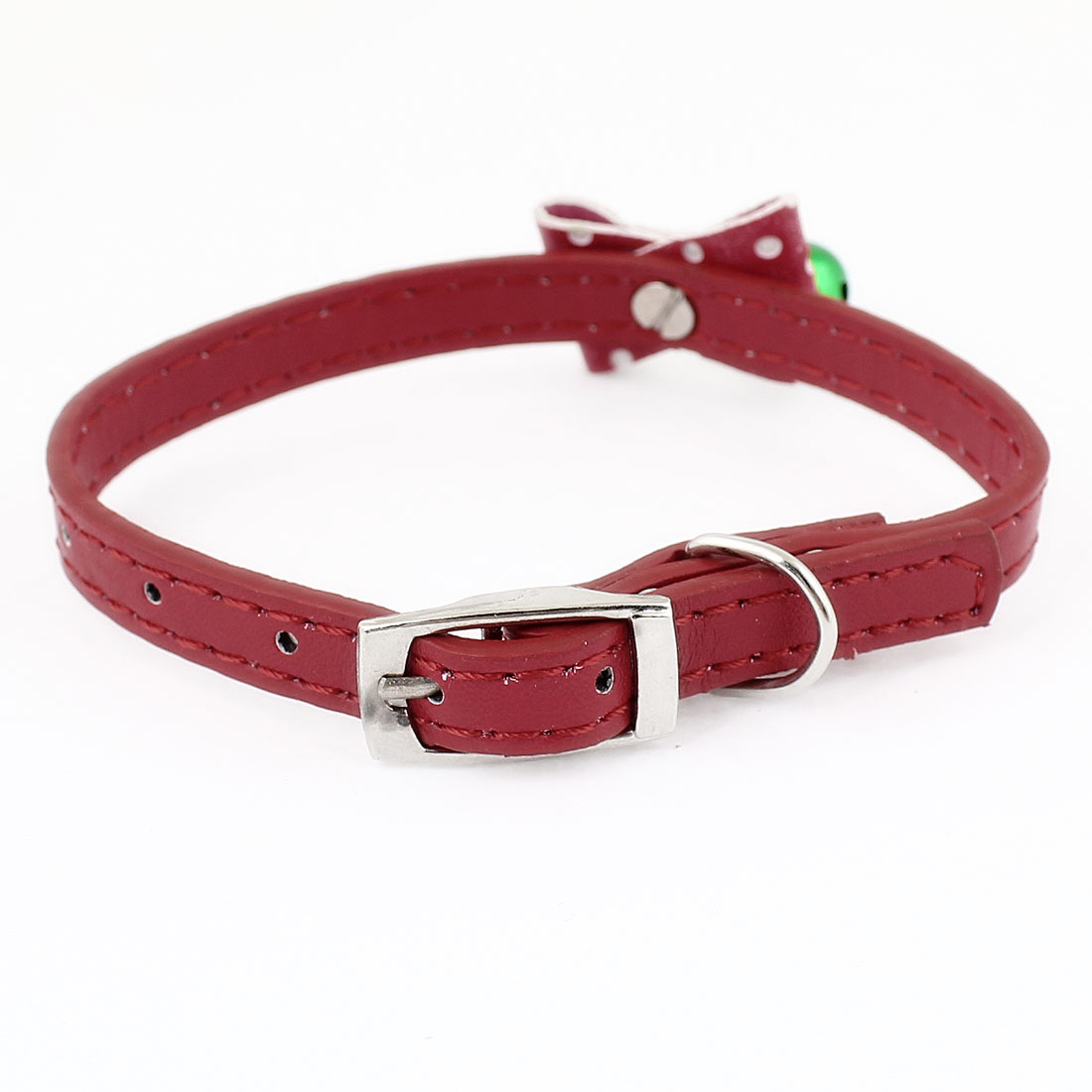 Red Faux Leather Bowknot Green Bell Decor Adjustable Dog Doggy Puppy Collar Rope