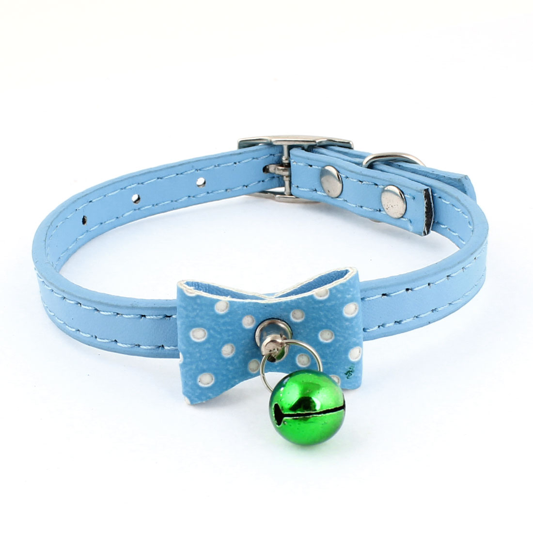 Bell Accent Light Blue Faux Leather Adjustable Pet Dog Collar Necklace Ornament