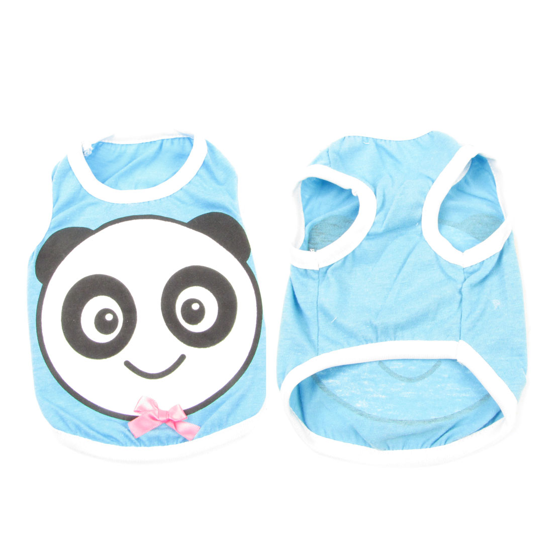 Sky Blue Panda Pattern Sleeveless Casual Pet Dog Cat Veat Tee Shirt Size XS