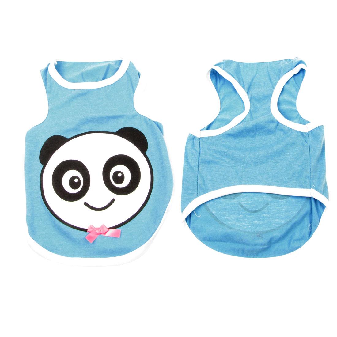 Summer Bowknot Decor Panda Pattern Sleeveless Pet Dog Cat Vest Clothes Size L